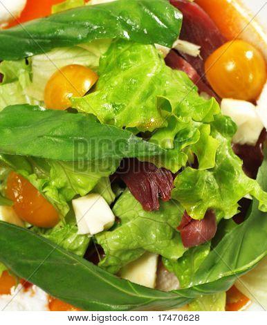 Ensalada - Magret ahumado (pechuga de pato) con salsa roja Chaud-Froid. Se compone de tomate y vegetales de hojas.