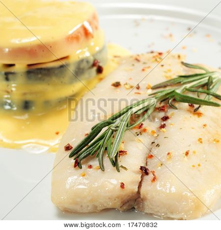 Sole and Vegetable with Yellow Sauce