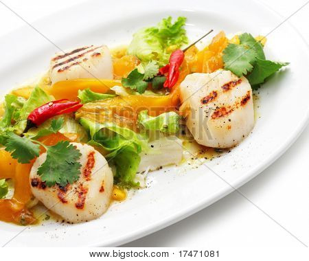 Grill Fish with Vegetables and Red Chilli Pepper