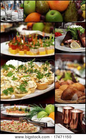 Colagem de fotos de mesa de banquete