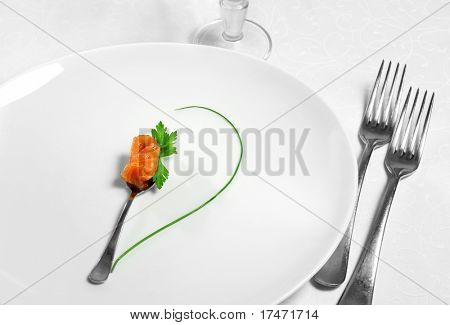 Food Still Life with Fork, Glass, Fish and Green