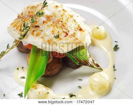 Halibut on Vegetable with Sauce