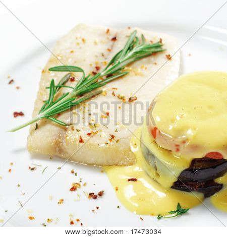 Hot Fish Dishes - Sole with Zucchini, Bell Peppers and Tomatoes
