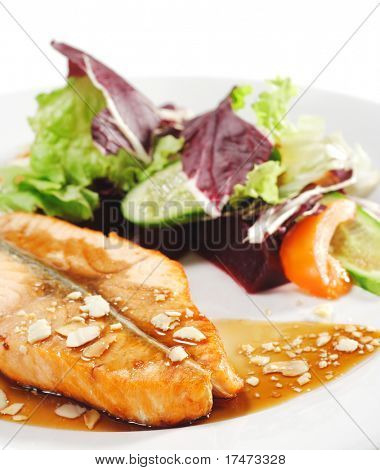 """Hot Fish Dishes - Salmon Steak with """"Narsharab"""" Sauce and Fresh Salad Leaves"""