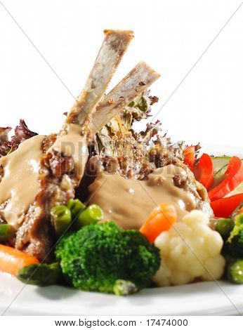 Hot Meat Dishes - Prime Rib Roast Pork with Fresh Vegetables