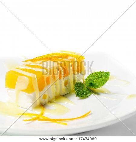 Dessert - Orange Käsekuchen mit frischer Minze