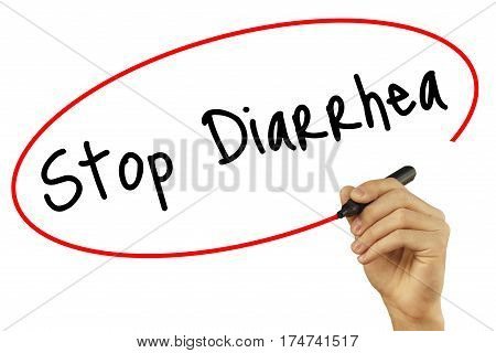 Man Hand Writing Stop Diarrhea With Black Marker On Visual Screen. Isolated On Background. Business,