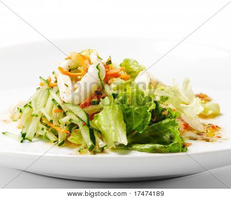Squid and Fish Salad with Vegetable