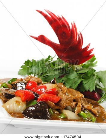 Chinese - Meat with Black Fungus and Parsley, Red Beet