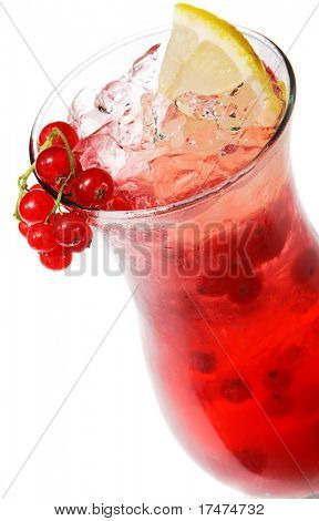 Cocktail with Currants and Lemon. Isolated on White Background