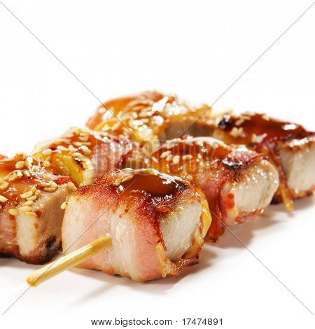 Japanese Cuisine - Tuna Wrapped in Bacon on Skewer