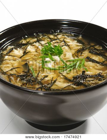 Japanese Cuisine - Miso Soup with Crab Meat and Trickled Pastries