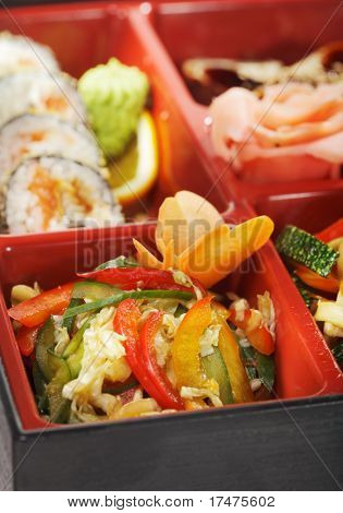 Japanese Bento Lunch - Salad with Cold Eel Appetizers and Hot Roll
