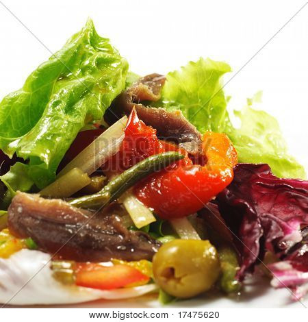 Salad with Anchovy and Marinaded Pepper