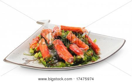 Japanese Salad from Crab Sticks with Seaweed