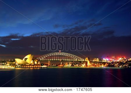 Sydney Opera House And Harbour Bridge At Night..