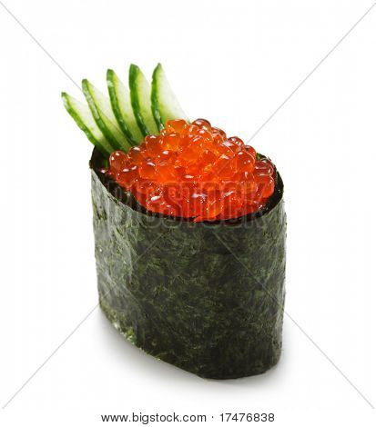 Ikura (Salmon Roe) Gunkan Maki Sushi with Cucumber. Isolated over White