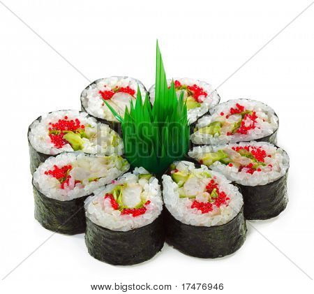 Maki Sushi made of Cucumber, Prawn (ebi), Avocado, Salad Leaf and Tobiko (flying fish roe) inside. Isolated over White