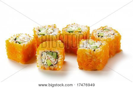 California Maki Sushi with Masago  - Roll made of Imitation Crab, Avocado, Cucumber, Japanese Mayonnaise inside. Masago (smelt roe) outside