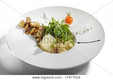 Risotto with Rucola, Tartufo Bianco (White Truffle) and Porcini and Tomato