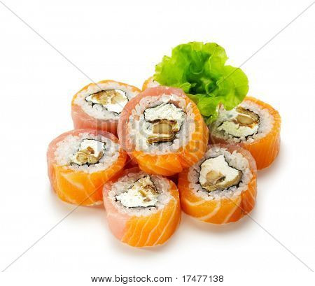 VIP Philadelphia Maki Sushi - Roll made of Smoked Eel, Cream Cheese and Cucumber inside. Fresh Salmon and Tuna outside. Served with Salad Leaf