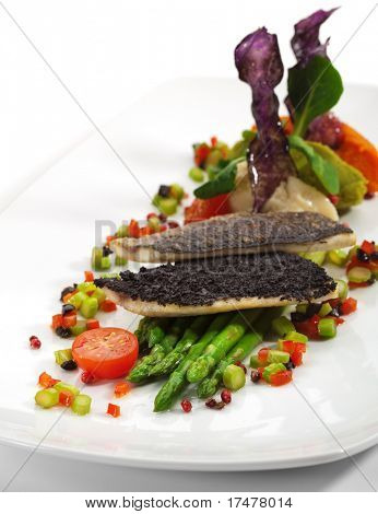 Fillet of Dorado on Asparagus with Vegetables Mash and Fresh Vegetables