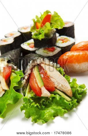Sushi Set - Different Types of Maki Sushi and Hand Roll Sushi (temaki)
