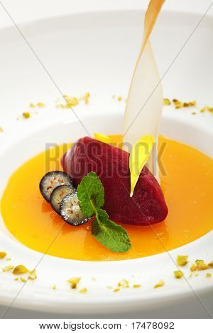 Maracuya Jelly with Red Berry Sorbet (strawberry or raspberry) and Fresh Mint