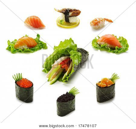Different type of Sushi and Gunkanmaki with Temaki
