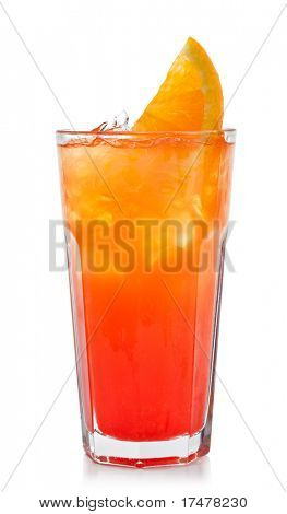 Refreshment Alcoholic Drink with Tequila, Orange Juice, and Grenadine Syrup