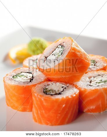 American Maki Sushi - Philadelphia Roll made of Fresh Raw Salmon, Cream Cheese and Cucumber