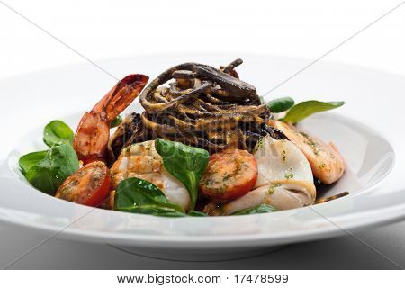 Seafood Spaghetti with Tiger Prawns, Scallops, Mussels, Calamari, Salmon and Tomato Sauce