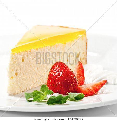Dessert - Orange Cheesecake with Whip and Fresh Strawberry