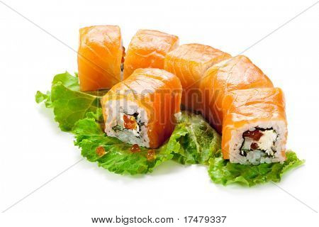 Roll with Cream Cheese, Salmon roe (ikura) and Cucumber inside. Salmon and outside. Served on Salad Leaf