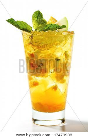 Refreshment Cocktail with Apple and Orange Slice. Garnished with Fresh Mint Leaves