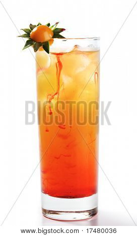 Alcoholic Cocktail with Tequila, Orange Juice, and Grenadine Syrup. Isolated on White Background.