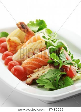 Warm Salad with Seafoods, Tomato and Herbs