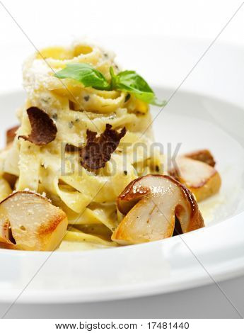 Tagliatelle with Mushroom, Cream Sauce, Truffle and Basil Leaf