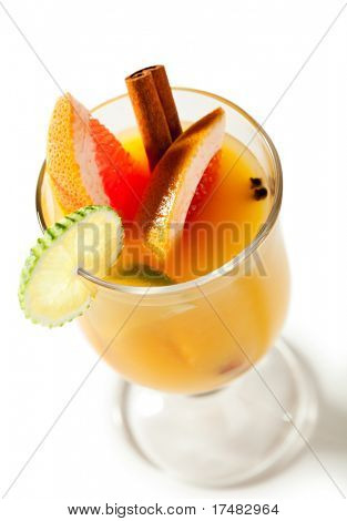 Warm Drink - Mulled White Wine with Spice and Lime and Grapefruit