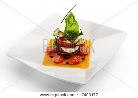 Insalata Caprese - Italian salad, made of Tomatoes, Zucchini and Buffalo Mozzarella Cheese