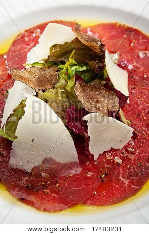 Beef Carpaccio with Salad, Nero e Bianco Tartufo  (Black & White Truffle)