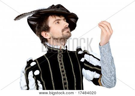Portrait of a handsome man grandee in 16th century costume. Isolated over white background.