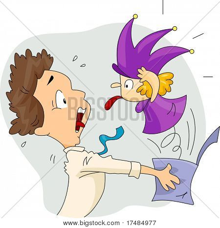 Illustration of a Man Scared by a Jack in the Box