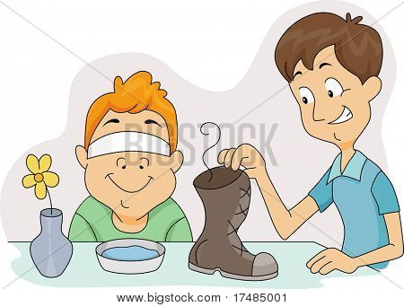 Illustration of a Boy About to Sniff a Smelly Shoe