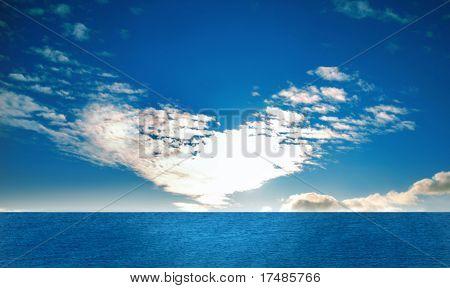Sun heart, cloud forming a heart