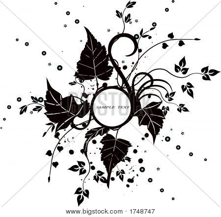 Floral Frame With Leaves - Vector
