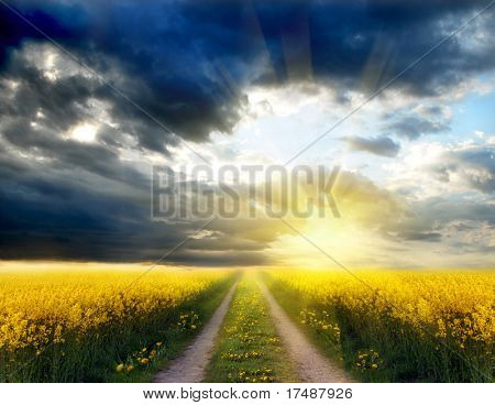 Landscape with dramatic sky