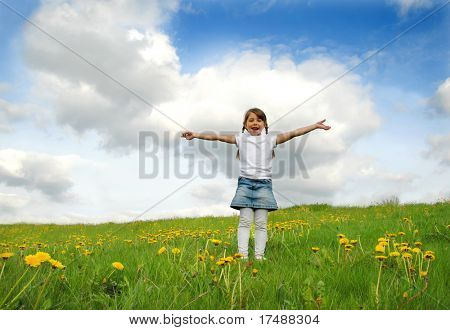 Little girl standing on a meadow in a field of beautiful flower
