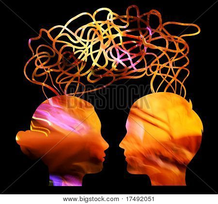 Bright Silhouette Of Man And Woman Thinking, Relationship Concept