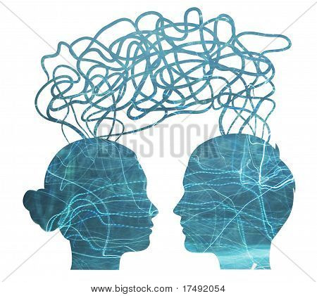 Blue Silhouette Of Man And Woman Thinking, Relationship Concept